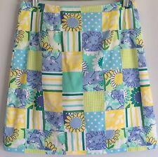 Women's Skirt LILLY PULITZER  Patch AQUA YELLOW BLUE GIRAFFE SUNFLOWER TIGER 2