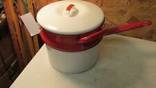 Old Red & White Enamelware Double Boiler