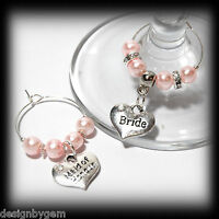 Beautiful Baby Pink wedding wine glass charms for top table or favours decor