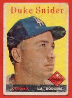 1958 Topps #88 Duke Snider GOOD HOF Brooklyn Los Angeles Dodgers FREE SHIPPING