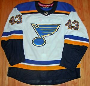 ADIDAS NHL HOCKEY AUTHENTIC GAME WORN AWAY JERSEY 56 ST LOUIS BLUES SCHMALTZ 43