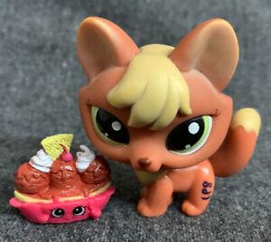 Littlest Pet Shop #1028 Orange Yellow Fox Figurine With Green Eyes