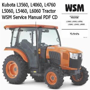 Kubota L3560, L4060, L4760, L5060, L5460, L6060 Tractor WSM Service Manual CD