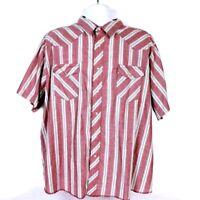 Wrangler Men's Pearl Snap Shirt 2XLT Western Red White Striped Short Sleeve