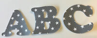 Grey with White Stars Iron On Letters & Numbers