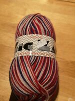 King Cole zig zag 808 GB colours superwash wool blend sock yarn 4 ply 100g ball