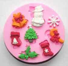 Molde De Silicona Navidad Santa Glaseado hornear pastel de chocolate Topping Decoración