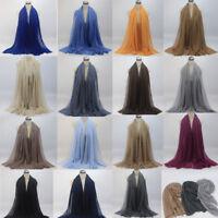 Premium Viscose Maxi Crinkle Cloud Hijab Scarf Shawl Solid Soft Islam Muslim  US