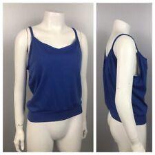 1980s Tank Top / 80s Blue Spaghetti Strap Cotton Tank Top Summer Shirt M/L