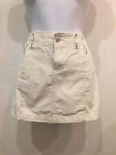 Vintage 90s Off White Mini Skirt Pockets Womens (1755)