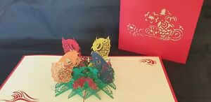 3D Pop up card - A very rarely Four Koi Fish.(Birthday, Good Luck, Thank you...