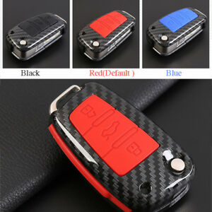 Carbon Fiber Shell+Silicone Cover Remote Key Holder Fob Case&KeyChain For Audi