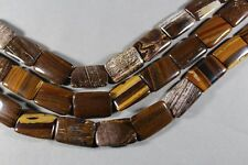 "COCONUT JASPER PETRIFIED WOOD 30x20MM RECTANGLE BEADS 15.5"" STR HEMATITE"