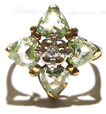 "DESIGNER ""AR"" 10K YELLOW GOLD GREEN QUARTZ DIAMOND ESTATE COCKTAIL RING SIZE 6.5"