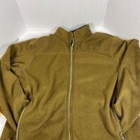 Polartec Mens Fleece Jacket Yellow Long Sleeve Full Zipper Pockets Mock Neck XL