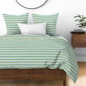 Sketchy Stripes Striped Dino Stripe Modern Green Sateen Duvet Cover by Roostery