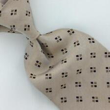 Ermenegildo Zegna Tie Made In Italy Beige Blk Squares Woven Necktie Silk Ties L6
