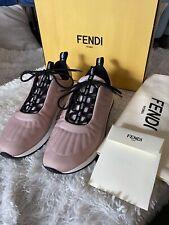 Authentic FENDI Women Sneakers Quilted Nylon Pink/Black/White. EU 38.5 / US 8