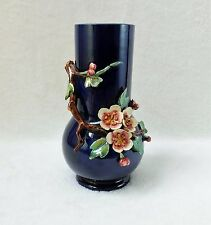 Vase en barbotine Thomas SERGENT Décor en relief de branche de cerisier XIXème