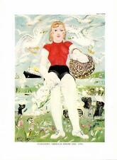 """Philip Evergood: """"American Shrimp Girl""""- Girl/Fish/Boat- Vtg Bookplate Art Print"""