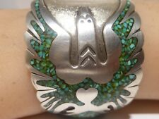 Peyote Bird Signed D B Navajo cuff bracelet Turquoise Chip Inlay Sterling Silver