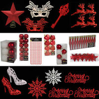 Red & White Glitter/Plain Christmas Tree Baubles Stars Cones & More