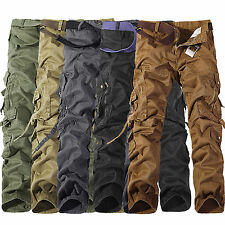 Combat Mens Cargo Army Loose Pants Military Camouflage Trousers Casual Workwear