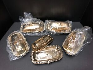 Forman Family Golden Glo Covered Butter Dishes