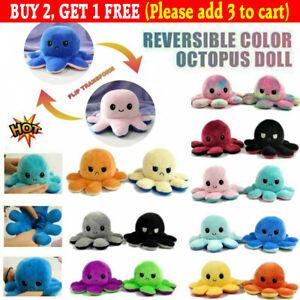 Double-Sided Flip Reversible Octopus Plush Toy Stuffed Doll Mood Meme Kid Gifts