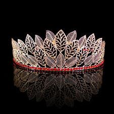 5cm High Elegant Gold Leaf Red Crystal Tiara Crown Wedding Prom Pageant