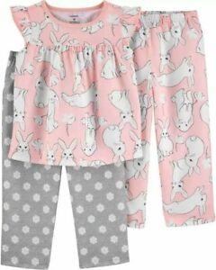 NWT Carters SZ 3T 4T 5T 3 Piece Bunny Poly PJs Pajamas Pink Girls Toddler