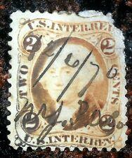 Very Nice 2 Cent Inter Rev Washington Stamp Hand Cancelled N.Y.P.O 1870 J76