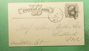 DR WHO 1880 FREEPORT ME FANCY CANCEL STAR POSTAL CARD  g39617