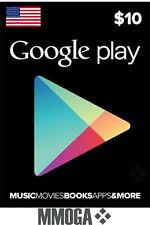 $10 USD Google Play Gift Card - 10 US Dollars Code Android Store Prepaid USA Key