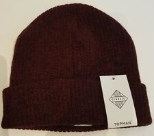Topman Red and Black Ribbed Beanie Hat One Size