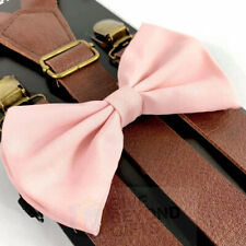 Suspender and Bow Tie Adult Brown Leather Wedding Pink Formal Wear Accessory