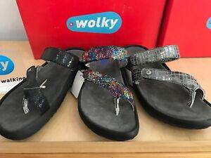 Wolky Bali 0884 Flip Flop Sandals (W/ Ajustable Hook & Loop Strap, 3 Colors)