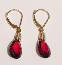 New Red Garnet & Diamond Earrings