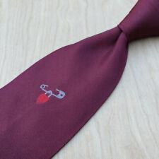 Rare Moschino Burgundy Red Twill w Safety Pin Red Heart Love Lock Silk Lux Tie