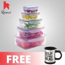 Keimavlock 10-Pc Airtight Food Storage with Self Stirring Mug (Black)