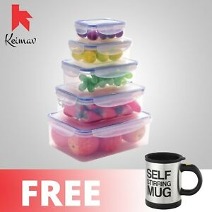 Keimavlock 10-Pc Airtight Food Storage with Self Stirring Mug (Black)