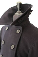 vtg WWII US NAVY PEACOAT - 10 Button Corduroy Pockets Chin Strap 40s NAVAL