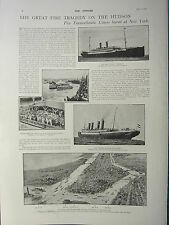 1900 VICTORIAN BOER WAR PRINT FIRE TRAGEDY HUDSON TRANSATLANTIC LINERS NEW YORK