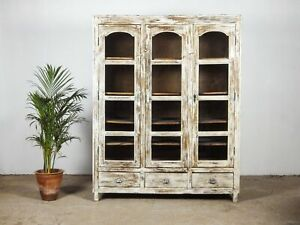 Vintage Wooden Rustic Bookcase Display Cabinet Cupboard MILL-1097
