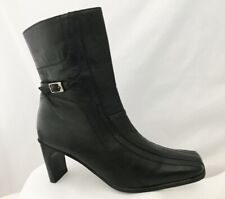 Hush Puppies Black Leather Zip Ankle Boots with Heel Size 5