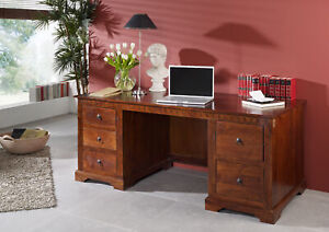 Schreibtisch Oxford#529 Bürotisch Arbeitstisch Kolonialstil Akazie 180x74x80cm