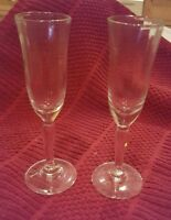 VINTAGE ♢ 2 OLD STEMMED  RIBBED  4.75 inch Tall ♢ LIQUOR CORDIAL GLASSES