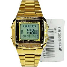*NEW* CASIO UNISEX RETRO DIGITAL DATA BANK GOLD WATCH DB-360GN-9AEF 9AVDF RRP£59