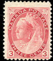 1898 Mint Canada F Scott #78 3c Queen Victoria Numeral Issue Stamp Hinged
