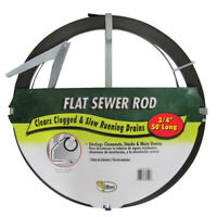 Cobra 60500 Flat Sewer Rod with Holder 3/4 Dia. in. x 50 ft.